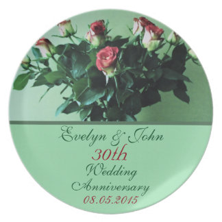 Personalized Names and Date Bouquet Roses Elegant Dinner Plate