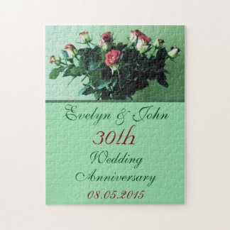 Personalized Names and Date Bouquet Roses Elegant Jigsaw Puzzle