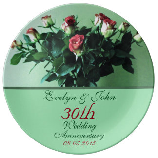 Personalized Names and Date Bouquet Roses Elegant Porcelain Plate