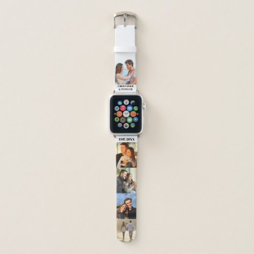 Personalized Names and Date with 5 Photo Collage Apple Watch Band