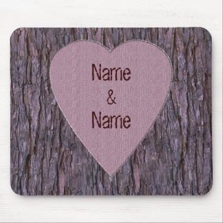 Personalized Names Carved In Tree Mouse Pad