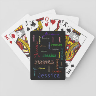 Personalized Names Collage Word Cloud Typography Playing Cards
