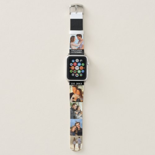 Personalized Names Date Photo Collage Black White Apple Watch Band