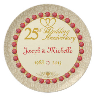 PERSONALIZED (NAMES/DATES) 25th Anniversary Plate