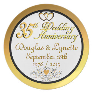 PERSONALIZED NAMES DATES 35th Anniversary Plate