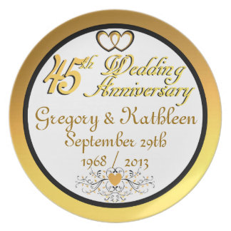 PERSONALIZED (NAMES/DATES) 45th Anniversary Plate