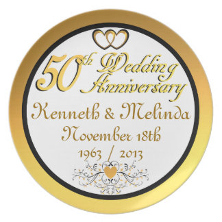 PERSONALIZED NAMES DATES 50th Anniversary Plate
