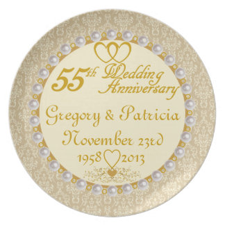 PERSONALIZED (NAMES/DATES) 55th Anniversary Plate