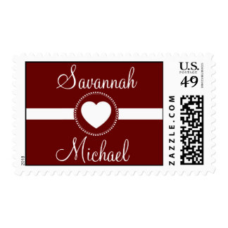 Personalized Names Heart Maroon Red Wedding Stamp