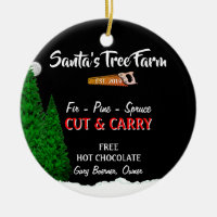 Personalized Names Year Christmas Tree Farm Orname Ceramic Ornament