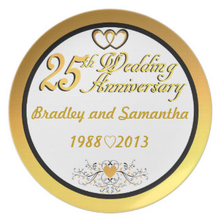 PERSONALIZED (NAMES/YEARS) 25th Anniversary Plate