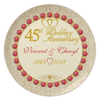 PERSONALIZED (NAMES/YEARS) 45th Anniversary Plate