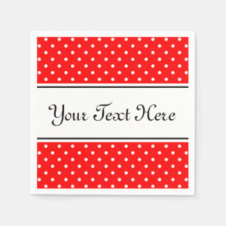 Personalized napkins | red and white polka dots