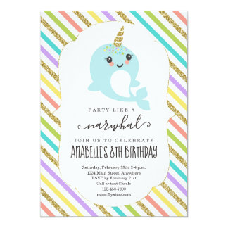 Personalized Narwhal Themed Girls Birthday Party Card