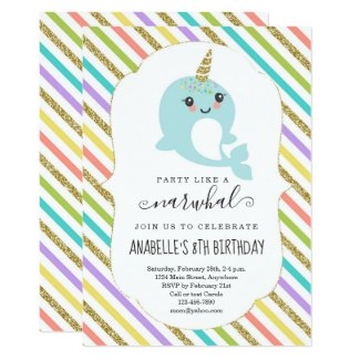 Personalized Narwhal Themed Girls Birthday Party Invitation