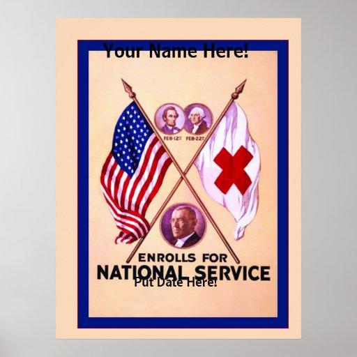 Personalized National Service ~ Vintage World War Poster