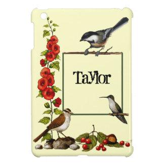 Personalized Nature Border: Birds, Flowers, Art iPad Mini Covers