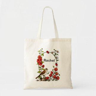 Personalized Nature Illustration, Flowers, Ladybug Tote Bag