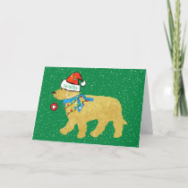 Personalized Naughty Christmas Goldendoodle Holiday Card