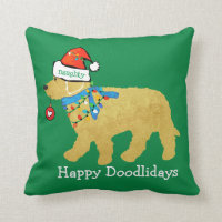 Personalized Naughty Christmas Goldendoodle Throw Pillow