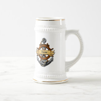 Personalized Nautical Anchor And Wheel 18 Oz Beer Stein