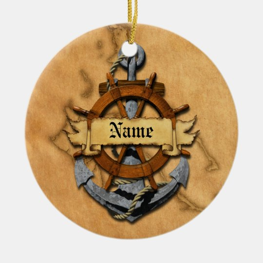 Personalized Nautical Anchor And Wheel Ceramic Ornament