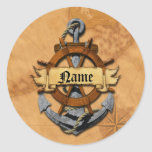 Personalized Nautical Anchor And Wheel Classic Round Sticker