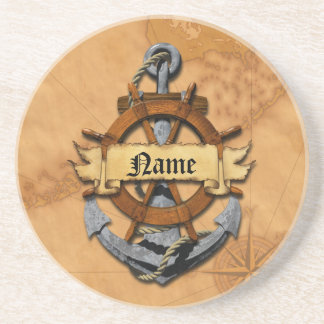 Personalized Nautical Anchor And Wheel Drink Coaster