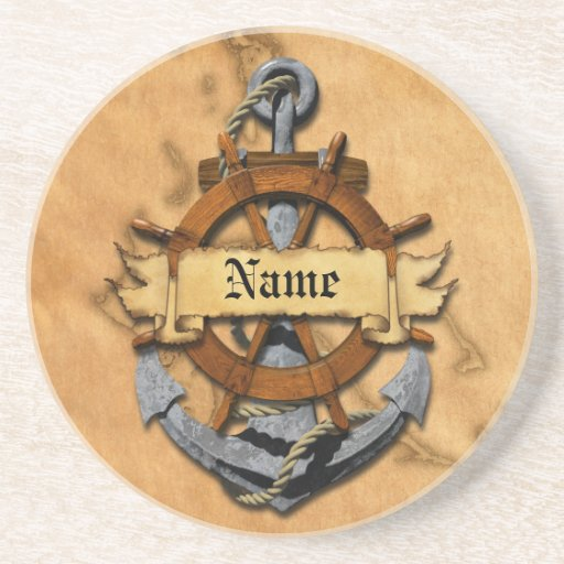 Personalized Nautical Anchor And Wheel Drink Coaster Zazzle