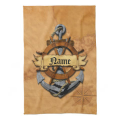 Personalized Nautical Anchor And Wheel Hand Towels