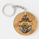 Personalized Nautical Anchor And Wheel Double-Sided Round Acrylic Keychain