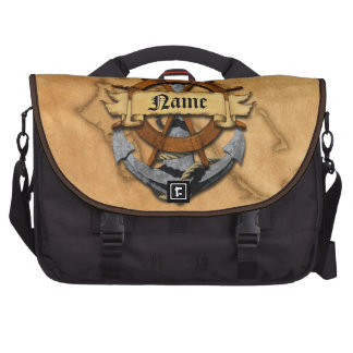 Personalized Nautical Anchor And Wheel Laptop Bags