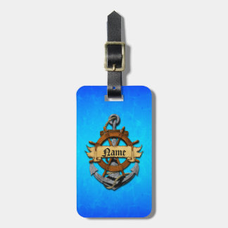 Personalized Nautical Anchor And Wheel Luggage Tag