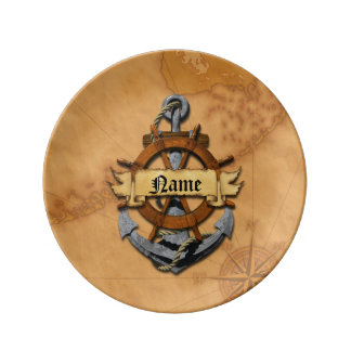 Personalized Nautical Anchor And Wheel Porcelain Plates