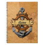 Personalized Nautical Anchor And Wheel Spiral Note Books