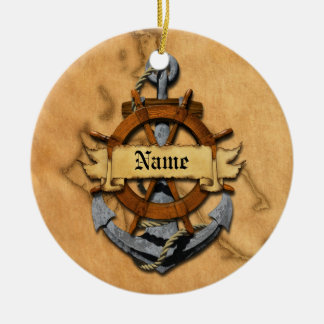 Personalized Nautical Anchor And Wheel Double-Sided Ceramic Round Christmas Ornament