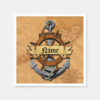Personalized Nautical Anchor And Wheel Paper Napkin