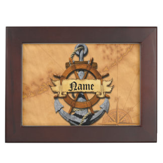 Personalized Nautical Anchor And Wheel Memory Boxes