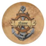 Personalized Nautical Anchor And Wheel Plate