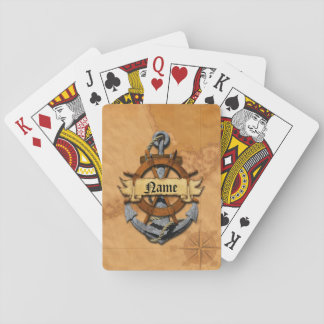 Personalized Nautical Anchor And Wheel Playing Cards