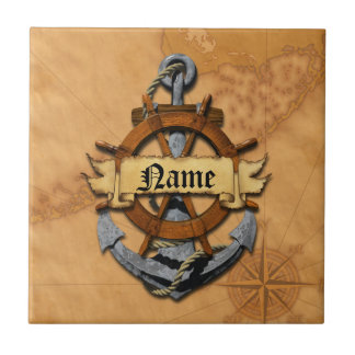 Personalized Nautical Anchor And Wheel Small Square Tile