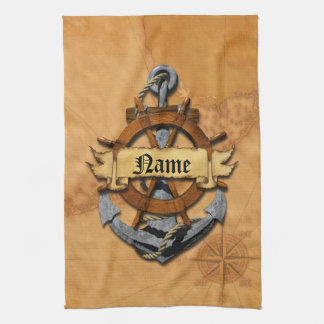 Personalized Nautical Anchor And Wheel Towel