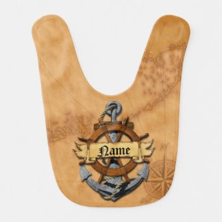 Personalized Nautical Anchor And Wheel Baby Bibs