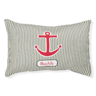 Personalized Nautical Anchor Dog Bed