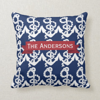Personalized Nautical Anchor Living the Dream Throw Pillow