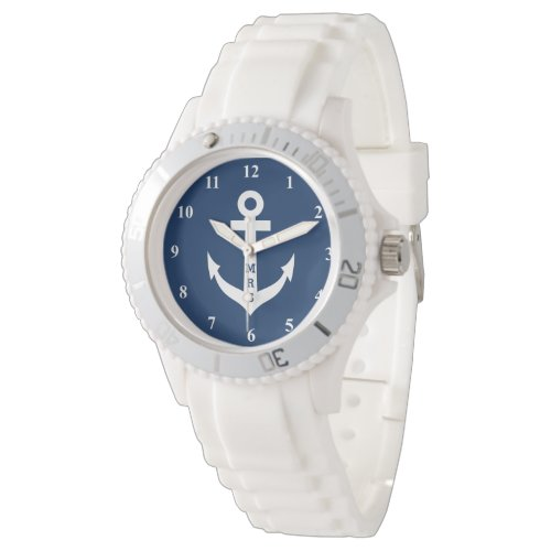 Personalized nautical anchor monogram silicon watch
