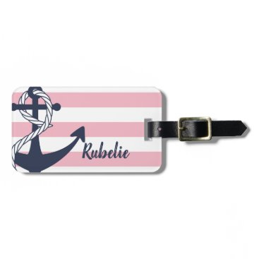 Personalized Nautical Anchor Pink Stripes Bag Tag