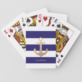 Personalized | Nautical Anchor Playing Cards at Zazzle