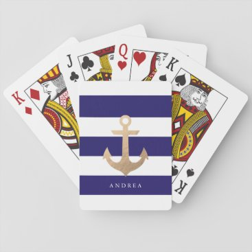 Beach Themed Personalized | Nautical Anchor Playing Cards