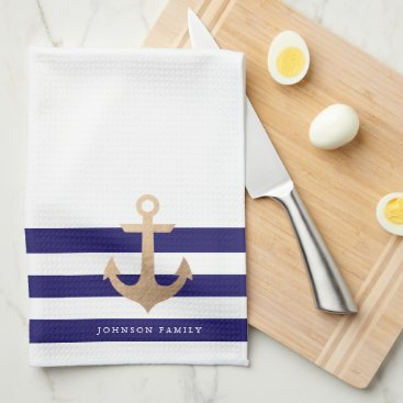 Beach Themed Personalized | Nautical Anchor Towel